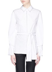 C Meo Collective 'Confessions' Zigzag Topstitching Belted Poplin Shirt White