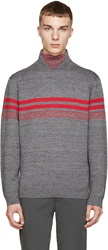 Alexander Wang Red And Grey Patterned Turtleneck