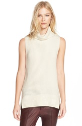 Vince Sleeveless Ribbed Wool Turtleneck Off White