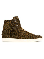 Saint Laurent Leopard Print Suede Hi Top Sneakers Brown