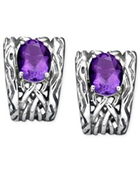Effy Collection Balissima By Effy Amethyst Weave Mini Hoop Earrings 3 Ct. T.W. In Sterling Silver