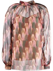 Mulberry Patterned Sheer Blouse Pink