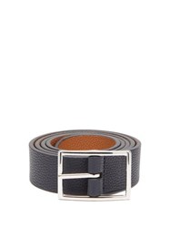 Andersons Anderson's Reversible Grained Leather Belt Navy Multi