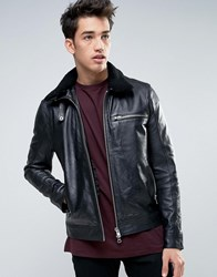 Barney's Barneys Leather Jacket With Sherpa Collar Black