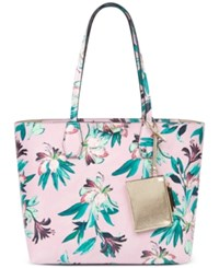 Nine West Caden Extra Large Tote Tropical Palm Print Pink Multi