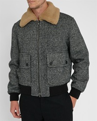 Carven Black Baseball Jacket With White Fur Collar