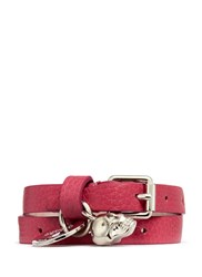 Alexander Mcqueen Double Wrap Skull Leather Bracelet Pink
