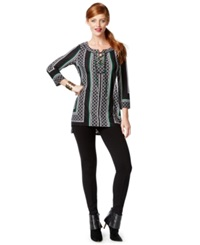 Inc International Concepts Mixed Print Lace Up Tunic Only At Macy's Taza Tile Scarf