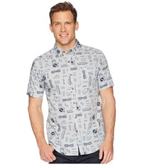 Royal Robbins Base Camp Print Short Sleeve Shirt Light Pelican Print Short Sleeve Button Up Gray