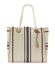 Vince Camuto Ulla Cotton And Linen Blend Tote Black