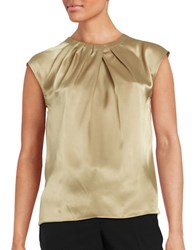 Nipon Boutique Pleated Satin Top Toffee