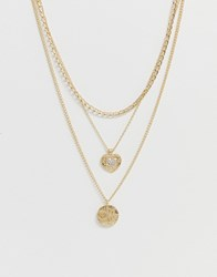 Monki Multi Row Chain Necklace In Gold