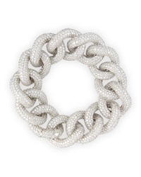 18K White Gold Diamond Chain Link Bracelet Leo Pizzo