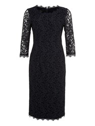 Basler Lace Dress With 3 4 Length Sleeves Navy