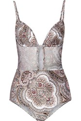 Zimmermann Epoque Tulip Cutout Mesh Paneled Printed Swimsuit Multi