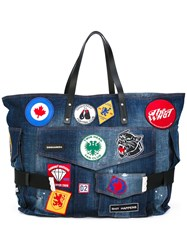 Dsquared2 Patch Embroidered Denim Holdall Blue