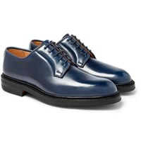 George Cleverley Archie Horween Shell Cordovan Leather Derby Shoes Midnight Blue