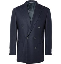 Thom Sweeney Navy Double Breasted Wool Twill Blazer Navy