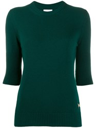 Barrie Ribbed Cashmere Top Green