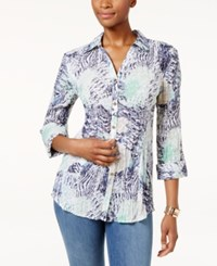 Jm Collection Printed Crinkled Shirt Only At Macy's Diamond Mint Julip