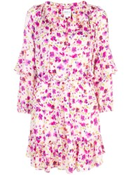 Misa Los Angeles Floral Ruffle Dress White