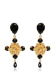 Dolce And Gabbana Cross Black Swarovski Clip On Earrings
