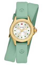 Women's Michele 'Cape' Topaz Dial Double Wrap Silicone Strap Watch 27Mm Green Gold