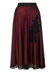 Chesca Mesh Skirt With Crinckle Motif Lining Black