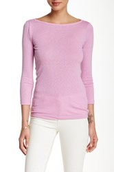 Three Dots Boatneck 3 4 Length Sleeve Tee Purple