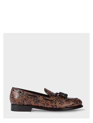 Paul Smith Men's Brown Leather 'Simmons' Tasseled Loafers With Floral Print