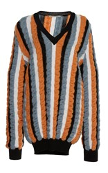 Marco De Vincenzo Cable Knit V Neck Pullover Stripe
