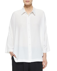 Eskandar Sloped Shoulder Button Front Shirt White