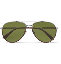 Bottega Veneta Aviator Style Tortoiseshell Acetate And Silver Tone Sunglasses