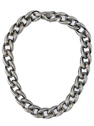 Garrard Feather Chunky Chain Necklace Metallic