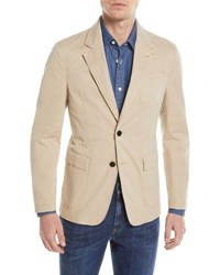 Zegna Sport Khaki Two Button Blazer Beige