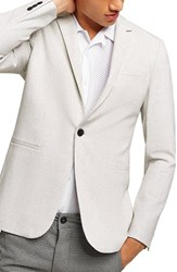 Topman Lionis Skinny Fit Textured Sport Coat Light Grey