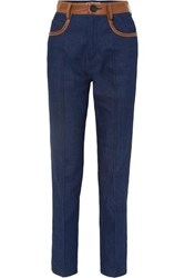 Wales Bonner Leather Trimmed High Rise Straight Leg Jeans Navy