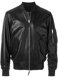 Ermanno Scervino Leather Bomber Jacket Black