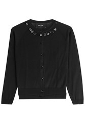 Simone Rocha Embellished Merino Wool Cardigan With Silk Black