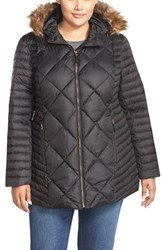 Plus Size Women's Marc New York 'Kami' Quilted Jacket With Faux Fur Trim