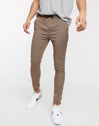 Brave Soul Draw String Trousers Small Scale Check Brown