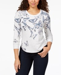 Styleandco. Style Co Graphic Sweatshirt Created For Macy's Flying Butterflies