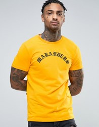 Asos Muscle T Shirt With Gothic Text Print Saffron Yellow