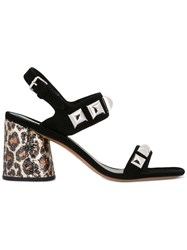 Marc Jacobs Leopard Print Heel Sandals Black