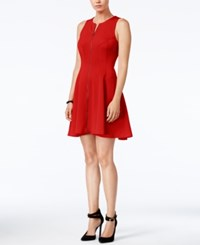 Bar Iii Zip Front Fit And Flare Scuba Dress Only At Macy's Chili Red