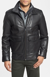 Vince Camuto Leather Bomber Jacket Online Only Black
