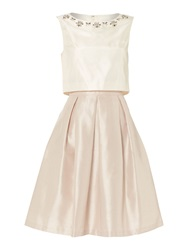 Untold Jewel Neck Top Overlay Dress With Pleated Skirt Taupe