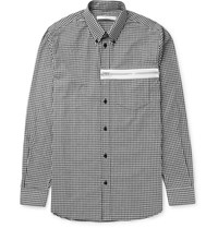 Givenchy Slim Fit Button Down Collar Gingham Cotton Poplin Shirt Black