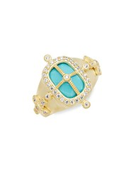 Freida Rothman Classic Turquoise Cubic Zirconia And 14K Gold Plated Sterling Silver Cage Ring