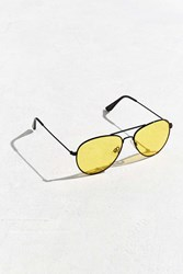 Urban Outfitters Yellow Lens Classic Aviator Sunglasses Black